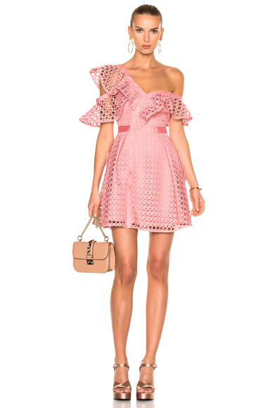 self-portrait Lace Frill Mini Dress in Pink