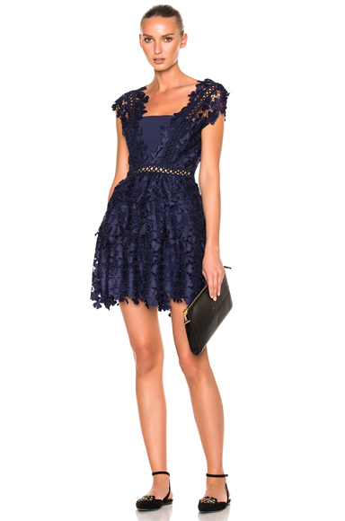 self-portrait Clover Embroidered Mini Dress in Blue