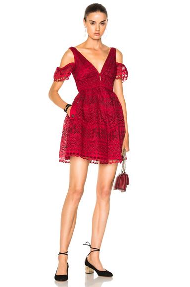 self-portrait Sheared Mini Dress in Red