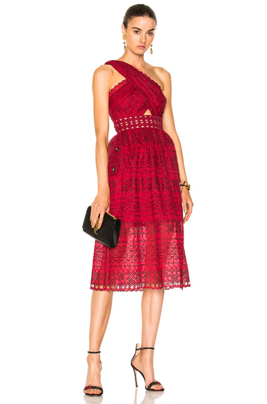 self-portrait One Shoulder Cut Out Midi Dress in Red