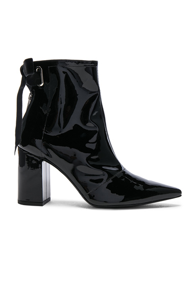 self-portrait x Robert Clergerie Patent Leather Karli Boots in Black