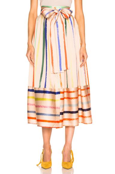 SILVIA TCHERASSI   SILVIA TCHERASSI Tomillo Skirt In Neutral,Stripes. - Size S (Also In L,M)   Goxip
