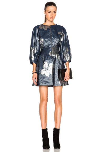 SUNO Pleats Cinched Short Dress in Blue, Floral, Metallics