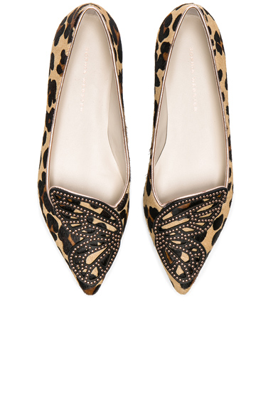 Sophia Webster Calf Hair Bibi Butterfly Leopard Flats in Brown, Animal Print