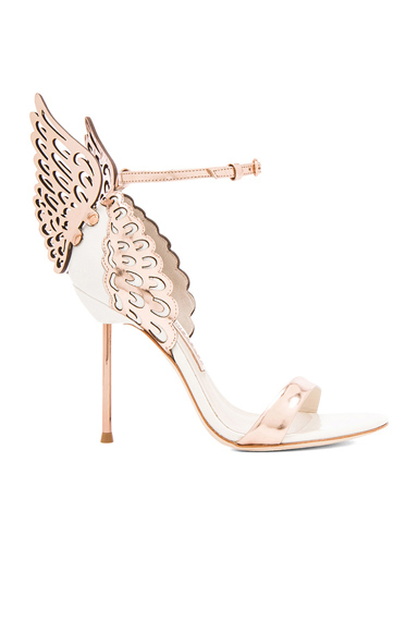 Sophia Webster Evangeline Leather Heels in Metallics, White
