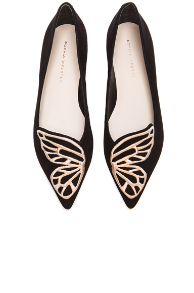 Sophia Webster Bibi Butterfly Suede Flats in Black