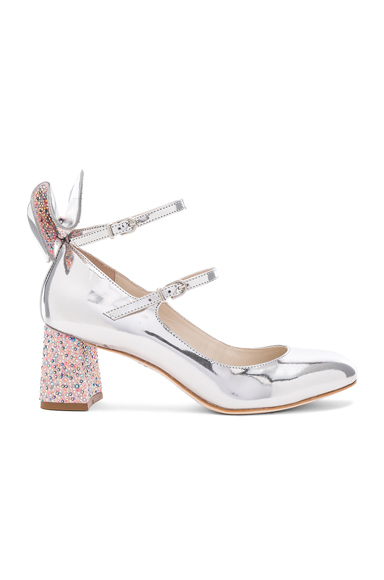Sophia Webster Leather Lilia Mid Mary Jane Heels in Metallics