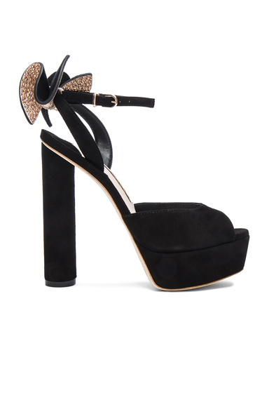 Sophia Webster Suede Raye Platform Heels in Black