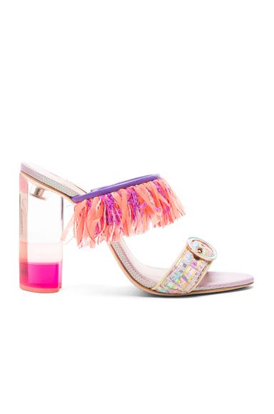 Sophia Webster Tweed Darla Mules in Orange, Pink, Purple
