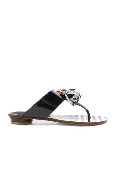 Sophia Webster Patent Leather Saffi Slide in Black, White