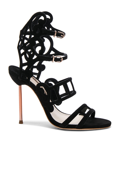 Sophia Webster Suede Birdie Sandals in Black