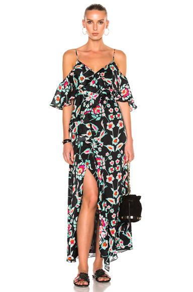 Tanya Taylor Mosaic Floral Lorena Dress in Black, Floral