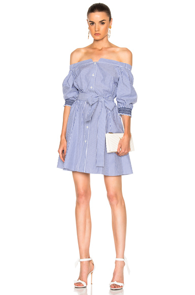 Tanya Taylor Brittany Dress in Blue, Stripes, White