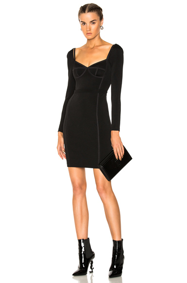 T by Alexander Wang Long Sleeve Fitted Dress in Black