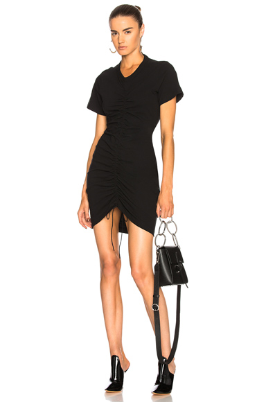T by Alexander Wang Twist Dress with Ruched Front in Black