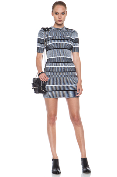 T BY ALEXANDER WANG | Plaited Rib Knit Cotton-Blend Dress in Black