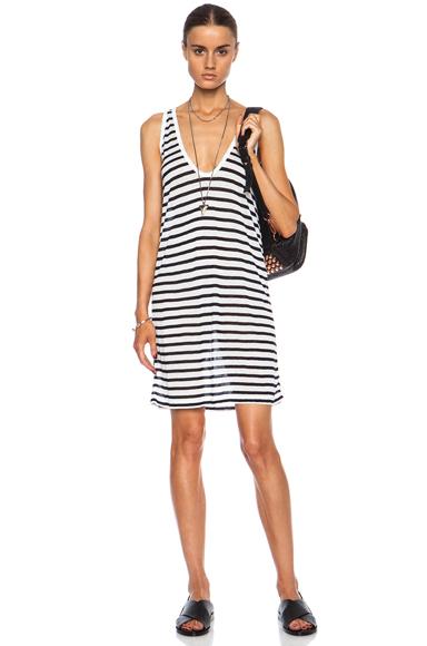 T BY ALEXANDER WANG | Stripe Tank Rayon-Blend Dress in Ink & White