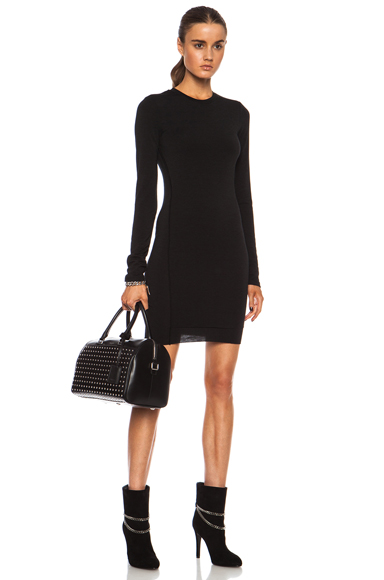 T BY ALEXANDER WANG | Twist Poly-Blend Dress in Black
