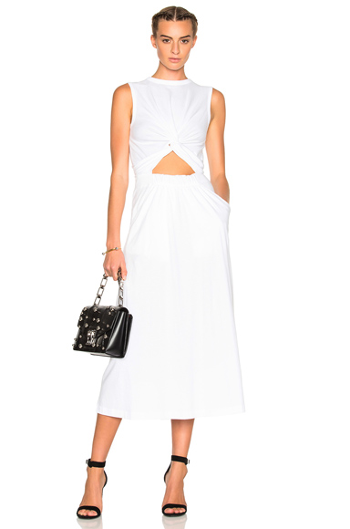 T by Alexander Wang Jersey Front Twist Muscle Dress in White