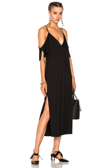 T by Alexander Wang Lux Ponte Cold Shoulder Midi Dress in Black