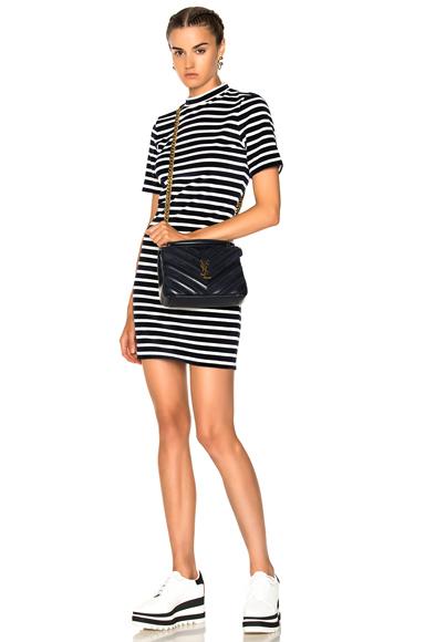 T by Alexander Wang Velvet Short Sleeve Mock Neck Dress in Blue, Stripes