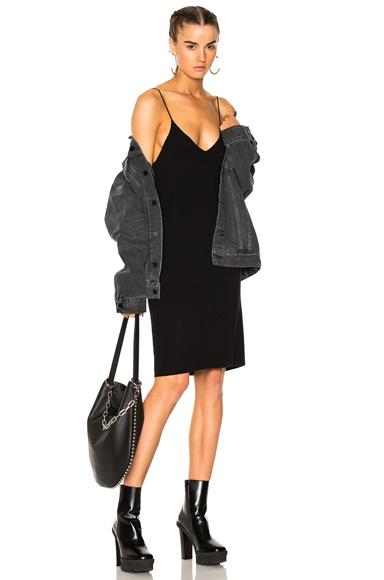 T by Alexander Wang V Neck Cami Dress in Black