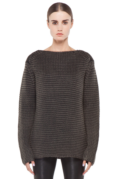 T BY ALEXANDER WANG | Acid Washed Chunky Sweater in Kale