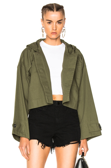 T by Alexander Wang Lightweight Cotton Hooded Crop Jacket in Green