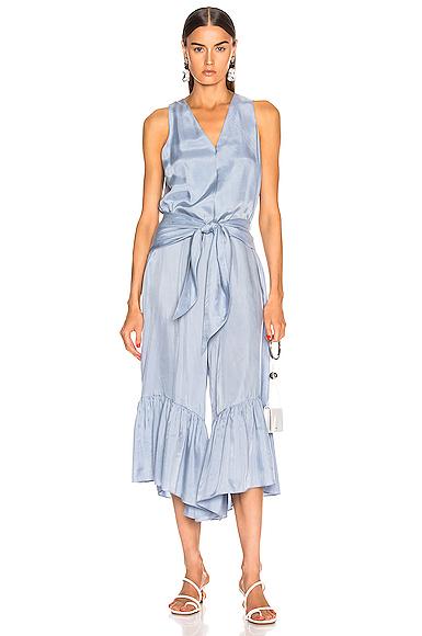 TIBI | Tibi Cami Ruffle Jumpsuit In Blue. - Size 6 (Also In 0,2) | Goxip