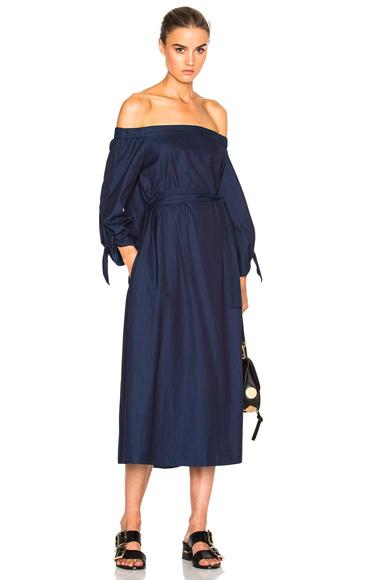 Tibi Midi Off Shoulder Dress with Belt in Blue
