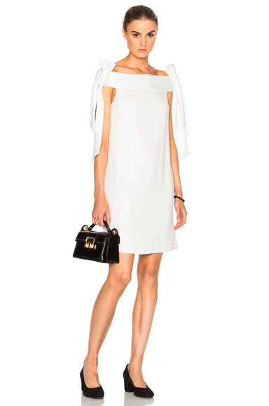 Photo of Tibi Tie Shoulder Dress in White online womens dresses sales