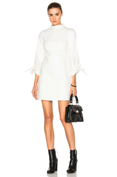 Tibi Tie Sleeve Dress in White, Geometric Print