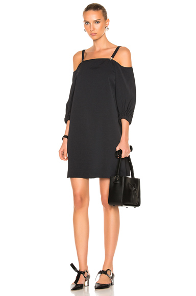 Tibi Twill Suspender Dress in Black
