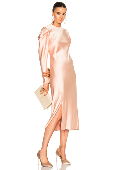 Tibi Drape Sleeve Dress in Pink, Neutrals