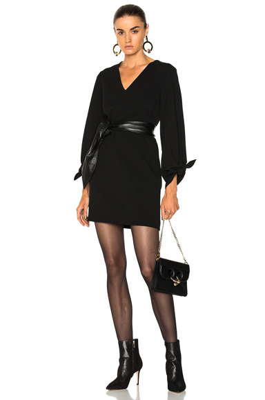 Tibi V Neck Dress in Black