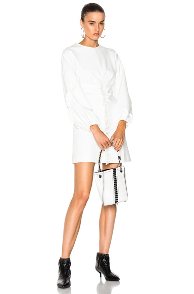 Tibi Ruffle Detail Mini Dress in White
