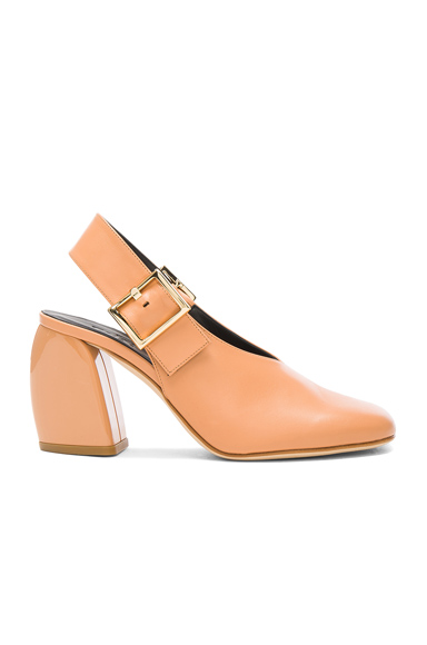 Tibi Leather Jillian Heels in Neutrals