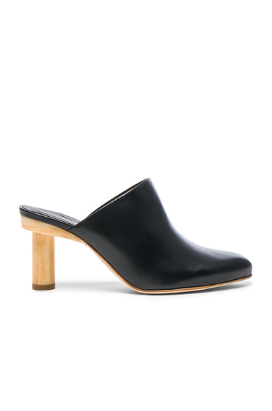 Tibi Leather Zoe Mules in Blue