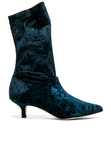 Photo of Tibi Harper Velvet Boots in Blue online womens shoes sales
