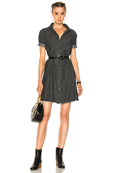 The Great Bias Shirt Dress in Black