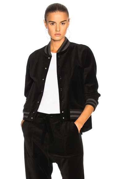 The Great Swingy Bomber Jacket in Black, Gray, Stripes