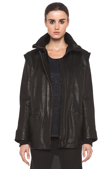 THEYSKENS' THEORY | Maalie Nuno Leather Jacket in Black