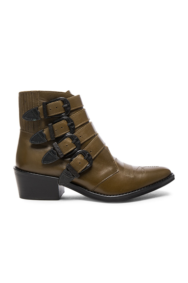 TOGA PULLA Limited Edition Leather Buckle Booties in Green, Brown