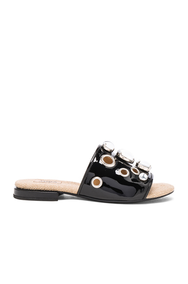TOGA PULLA Patent Leather Sandals in Black