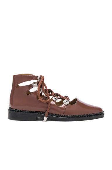 TOGA PULLA Lace Up Leather Boots in Brown