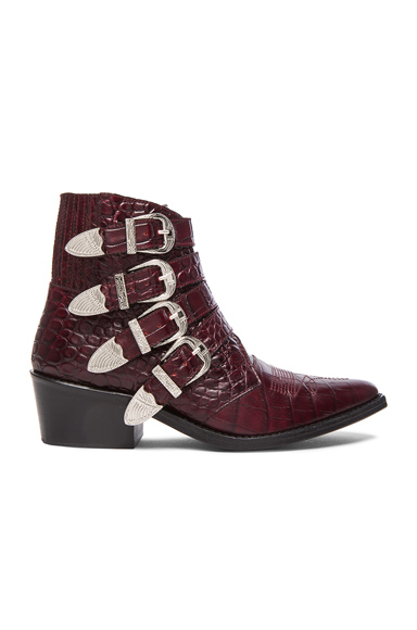 TOGA PULLA Embossed Leather Buckle Booties in Red, Animal Print