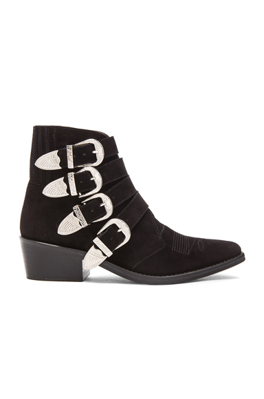 TOGA PULLA Suede Buckled Booties in Black Suede