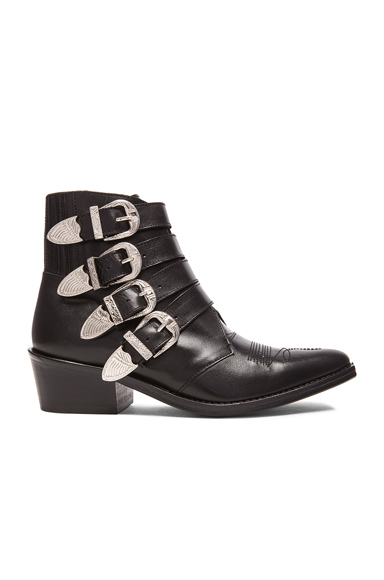 TOGA PULLA Leather Buckled Booties in Black