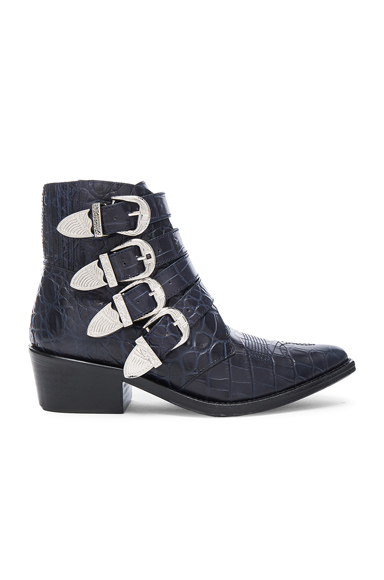 TOGA PULLA Snakeskin Embossed Buckle Booties in Blue, Animal Print