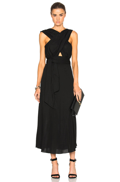 Tome Criss Cross Jersey Dress in Black. - size 2 (also in 0,8)